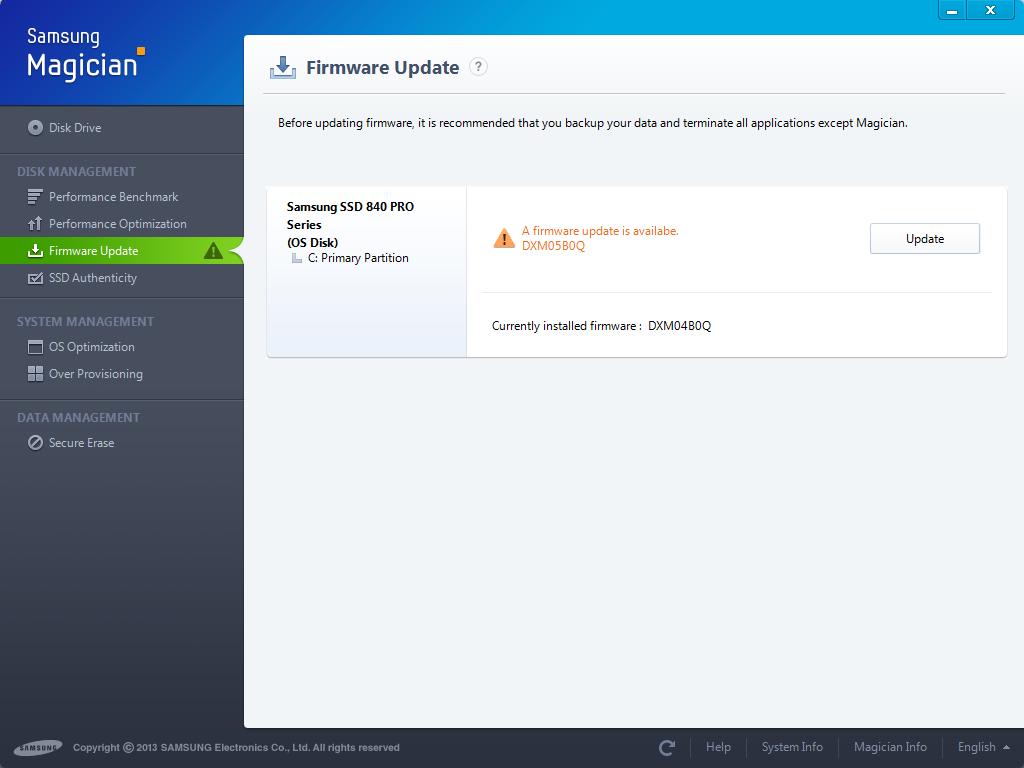 samsung ssd 840 pro firmware update mac